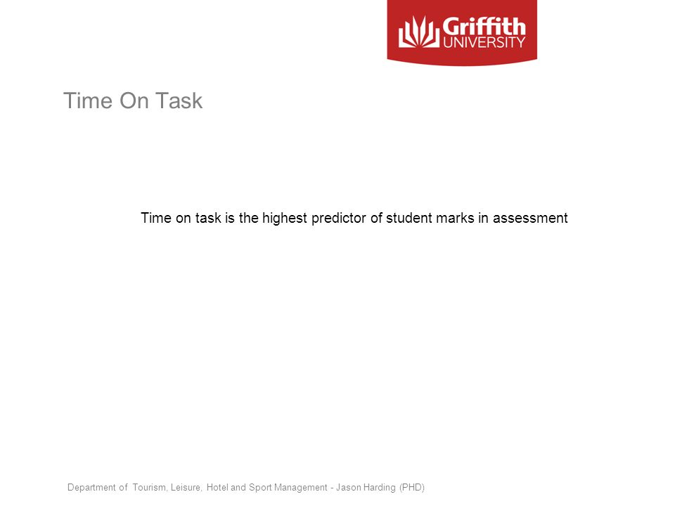 Time on task is the highest predictor of student marks in assessment