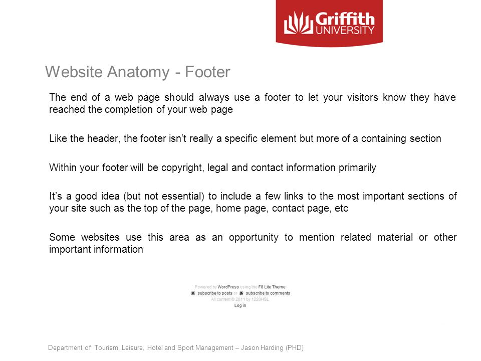 Website Anatomy - Footer