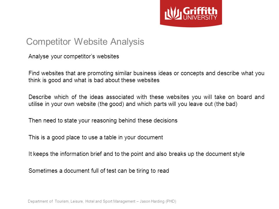 Competitor Website Analysis