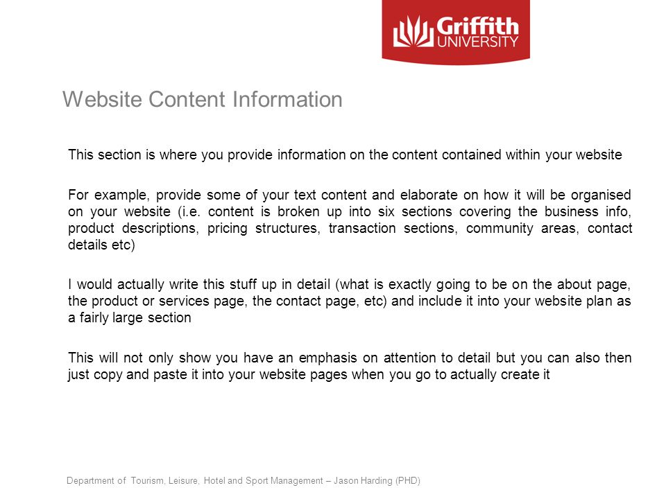 Website Content Information