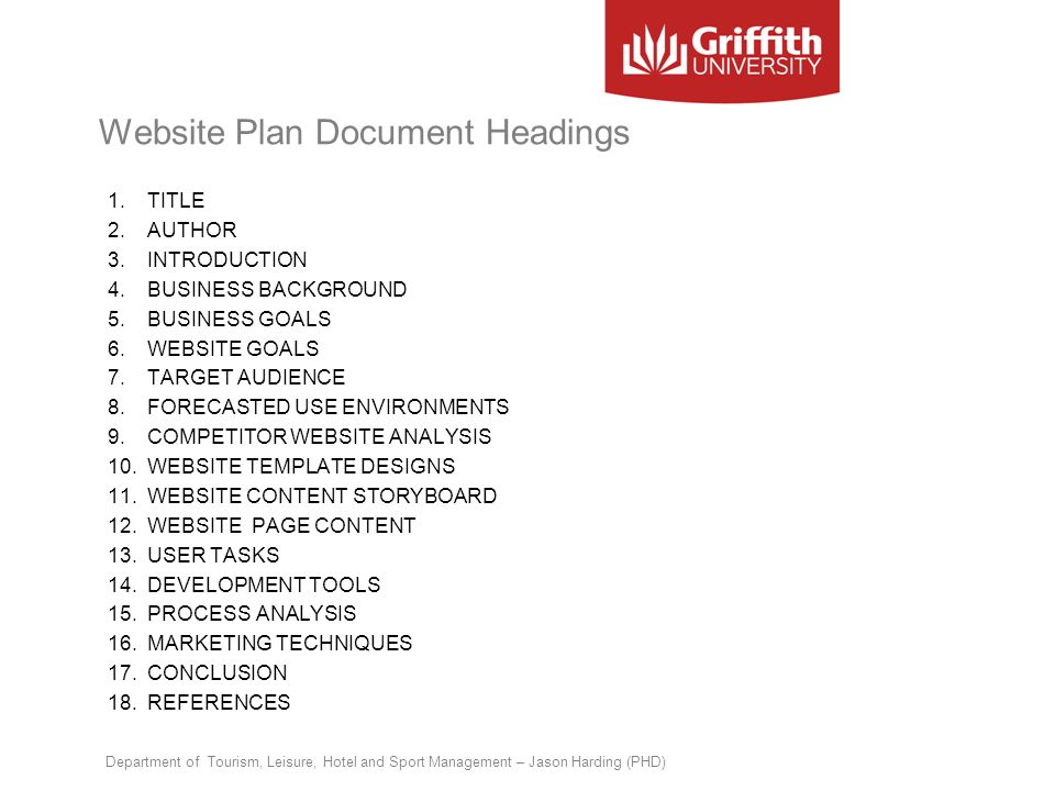 Website Plan Document Headings