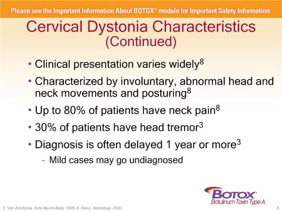 The clinical features of cervical dystonia vary widely among individual patients.8