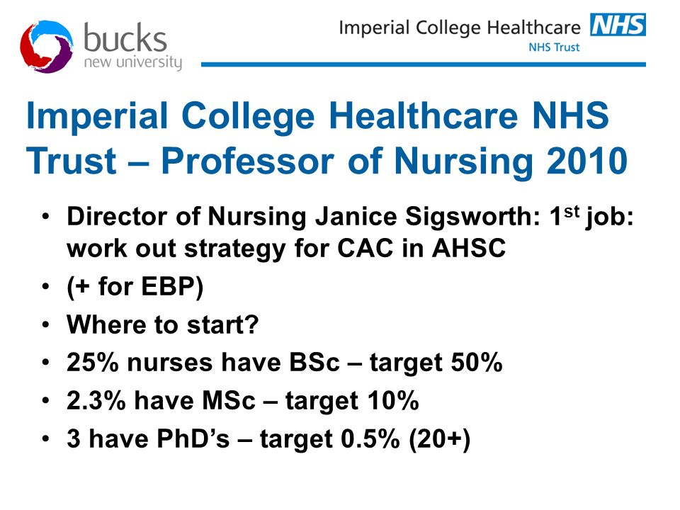 Imperial College Healthcare NHS Trust – Professor of Nursing 2010