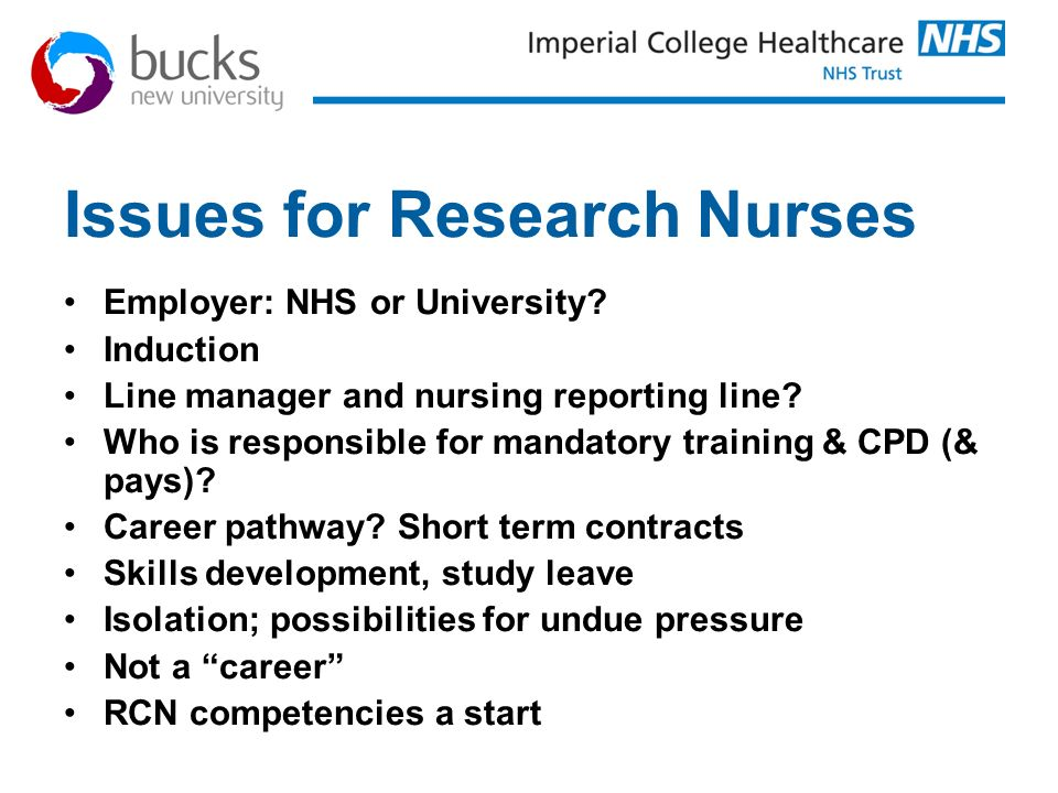 Issues for Research Nurses