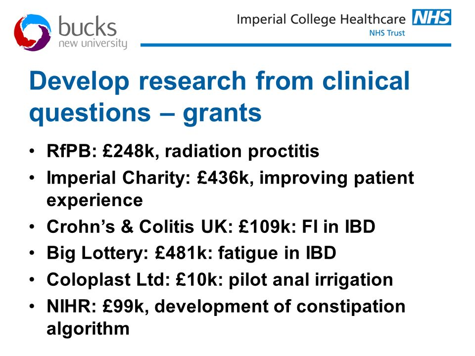 Develop research from clinical questions – grants