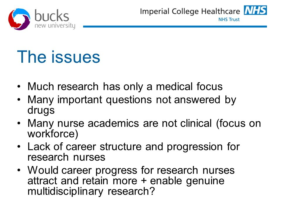 The issues Much research has only a medical focus