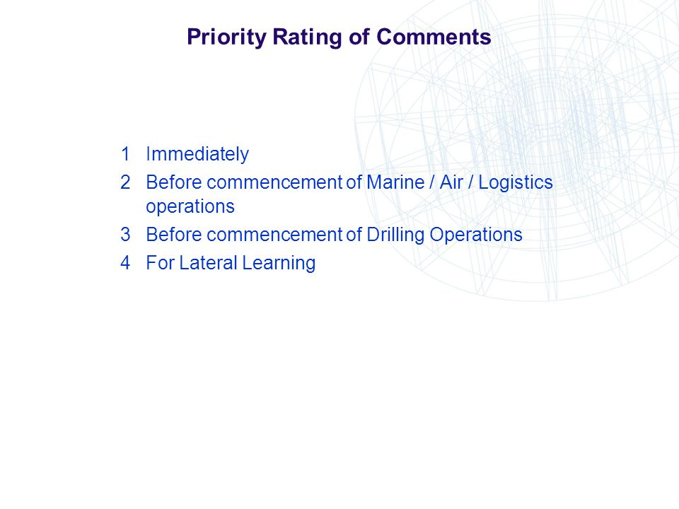 Priority Rating of Comments