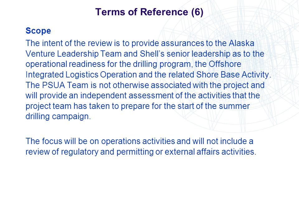 Terms of Reference (6) Scope