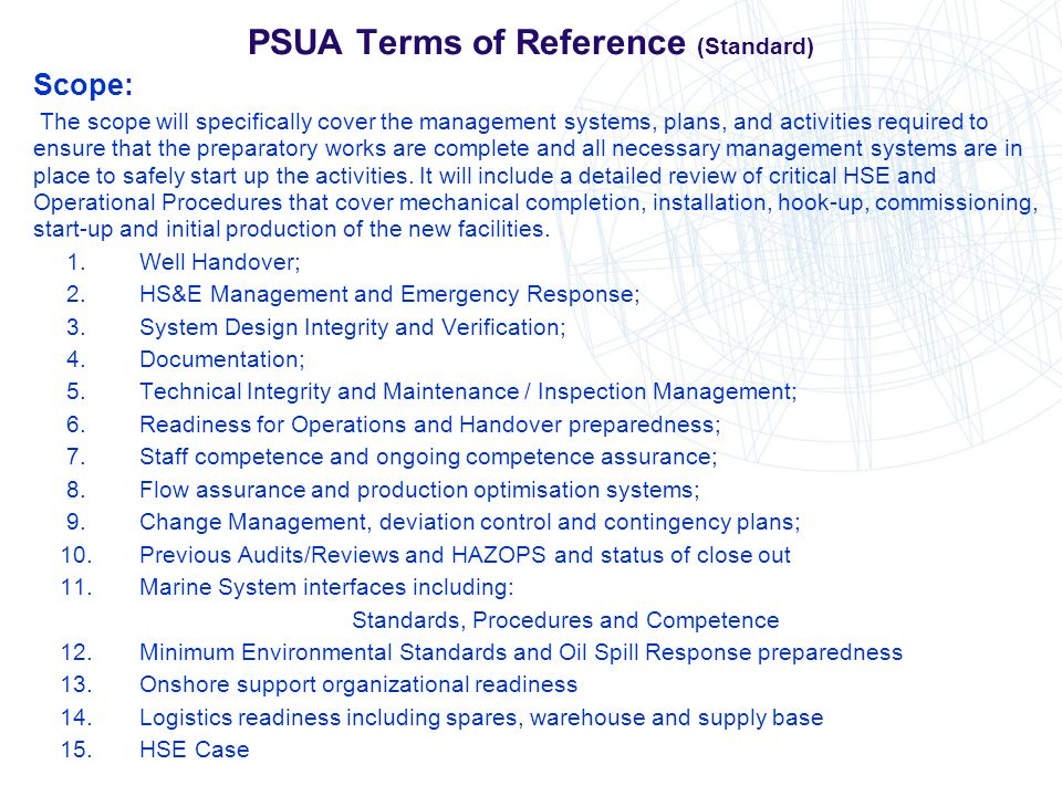 PSUA Terms of Reference (Standard)