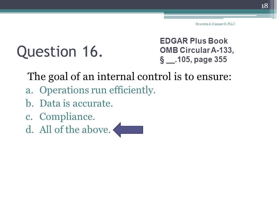 Question 16. The goal of an internal control is to ensure: