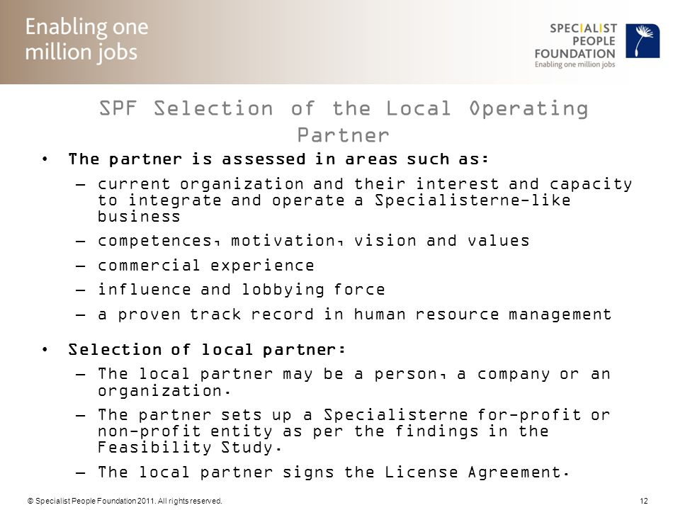 SPF Selection of the Local Operating Partner