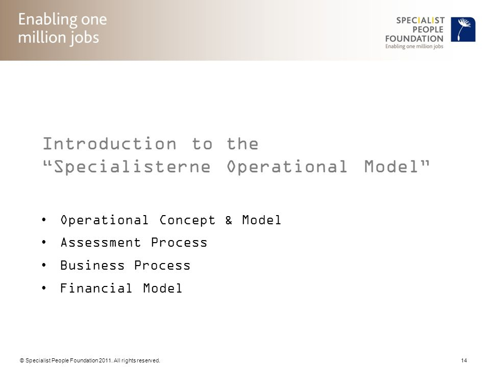 Introduction to the Specialisterne Operational Model