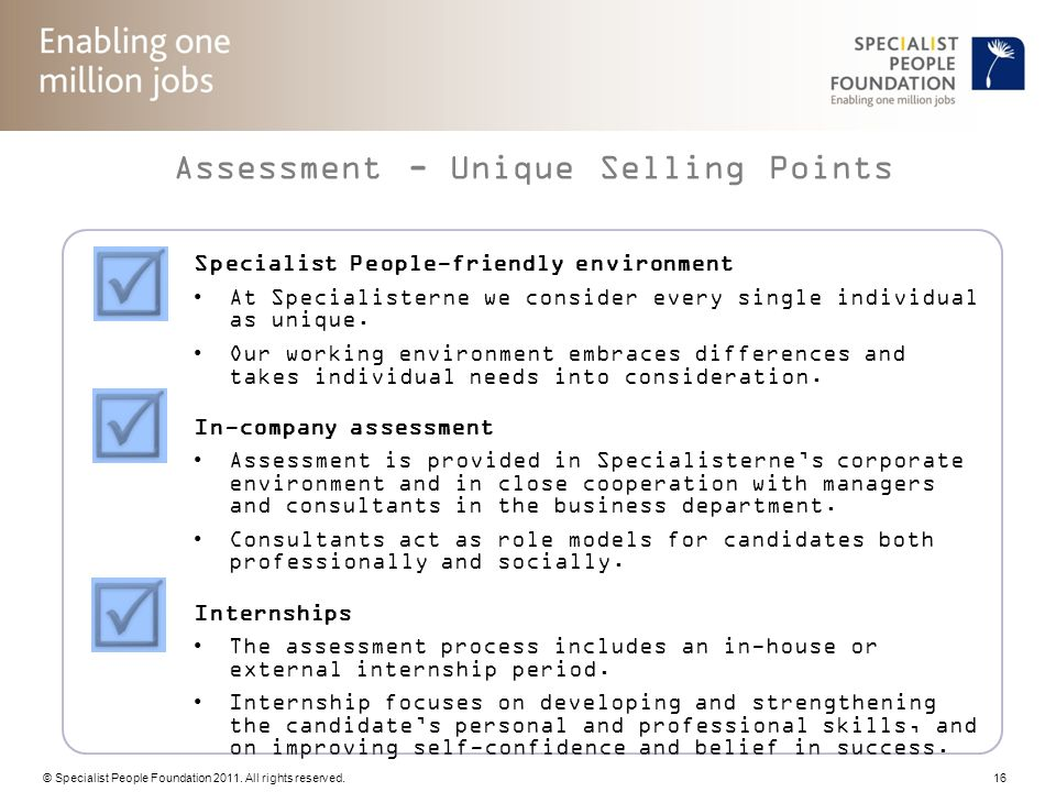 Assessment - Unique Selling Points