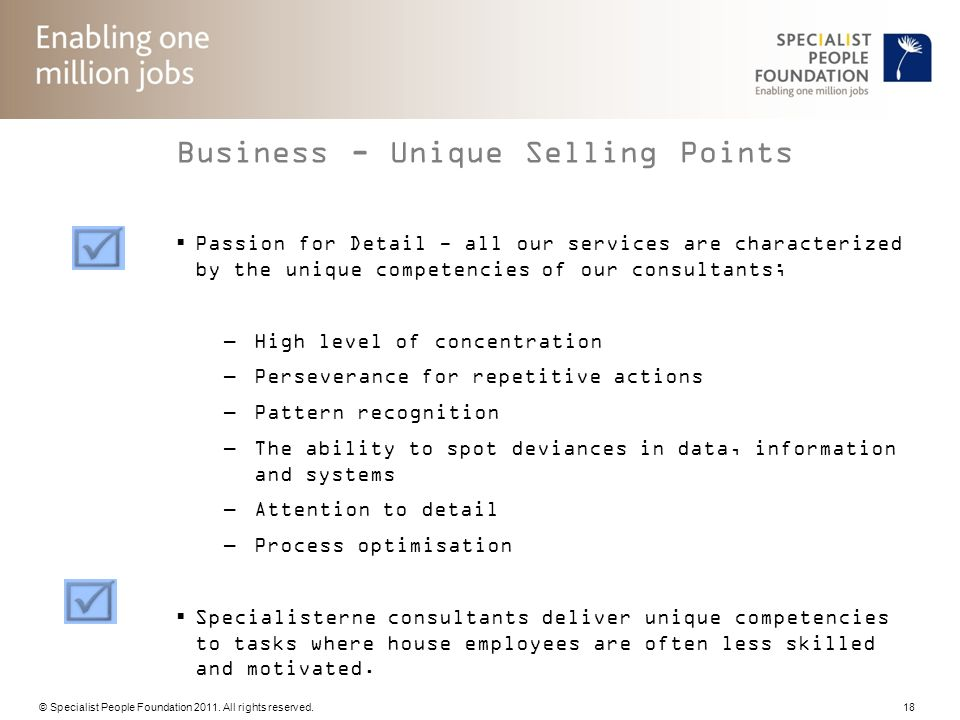 Business - Unique Selling Points
