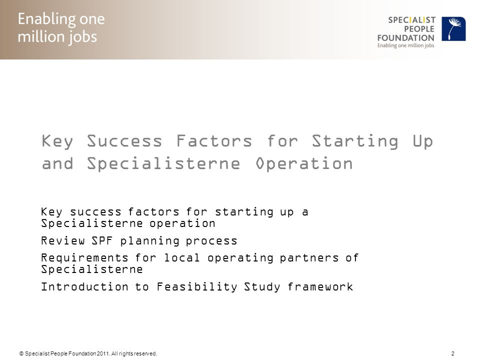 Key Success Factors for Starting Up and Specialisterne Operation