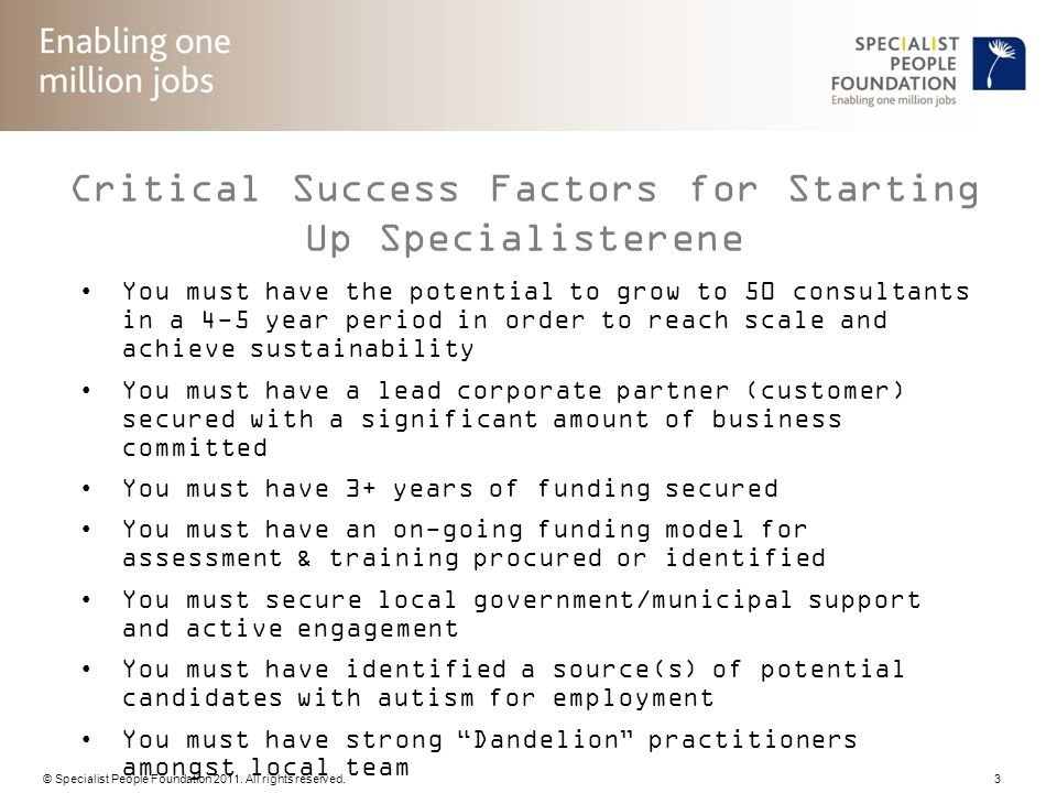 Critical Success Factors for Starting Up Specialisterene