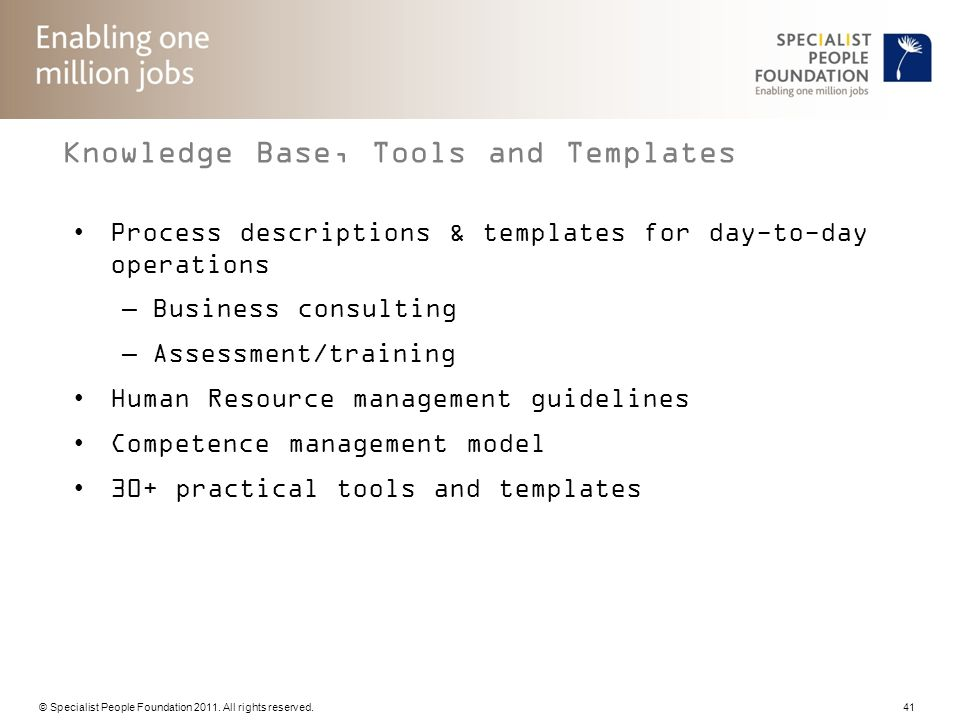Knowledge Base, Tools and Templates