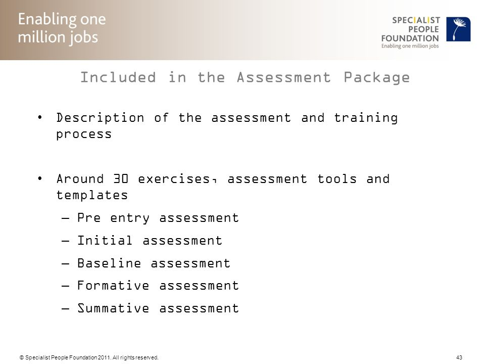 Included in the Assessment Package