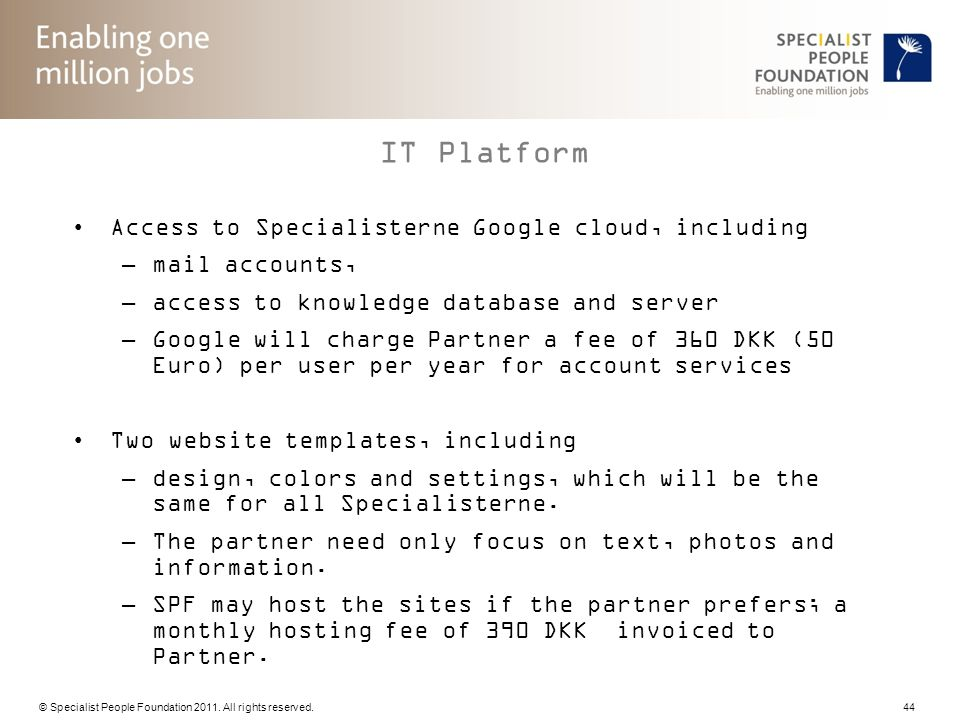 IT Platform Access to Specialisterne Google cloud, including