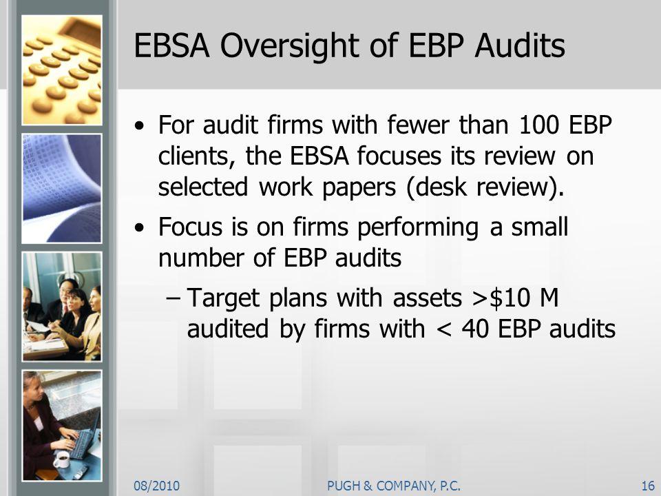 EBSA Oversight of EBP Audits