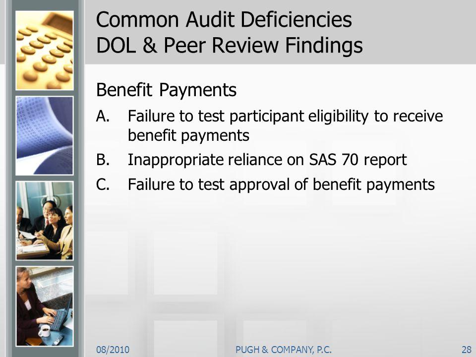 Common Audit Deficiencies DOL & Peer Review Findings
