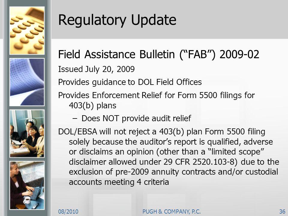 Regulatory Update Field Assistance Bulletin ( FAB ) 2009-02