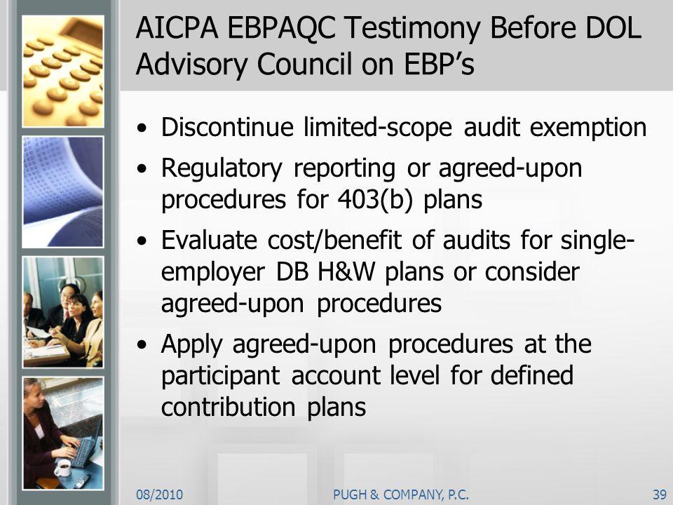 AICPA EBPAQC Testimony Before DOL Advisory Council on EBP's