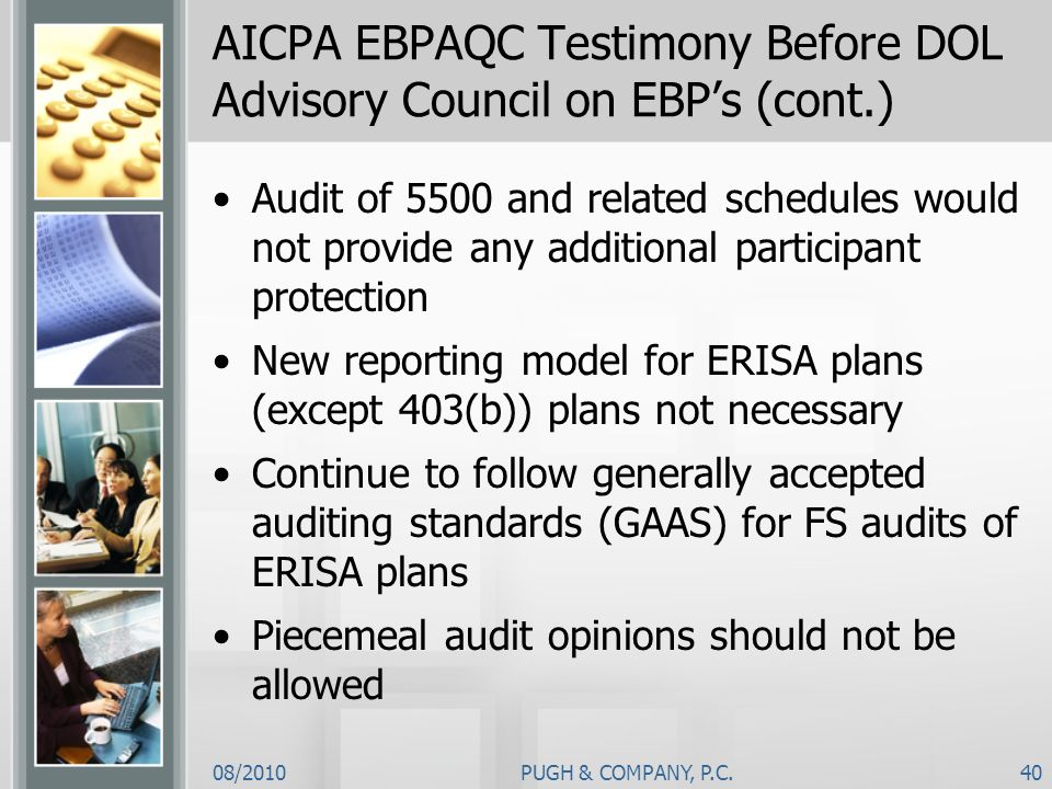 AICPA EBPAQC Testimony Before DOL Advisory Council on EBP's (cont.)