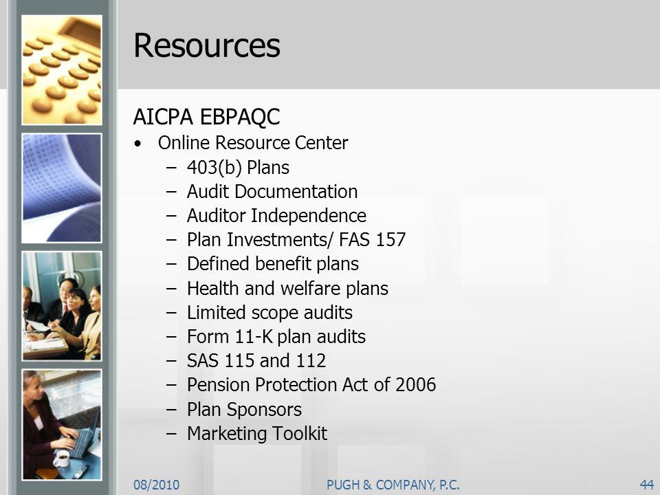 Resources AICPA EBPAQC Online Resource Center 403(b) Plans