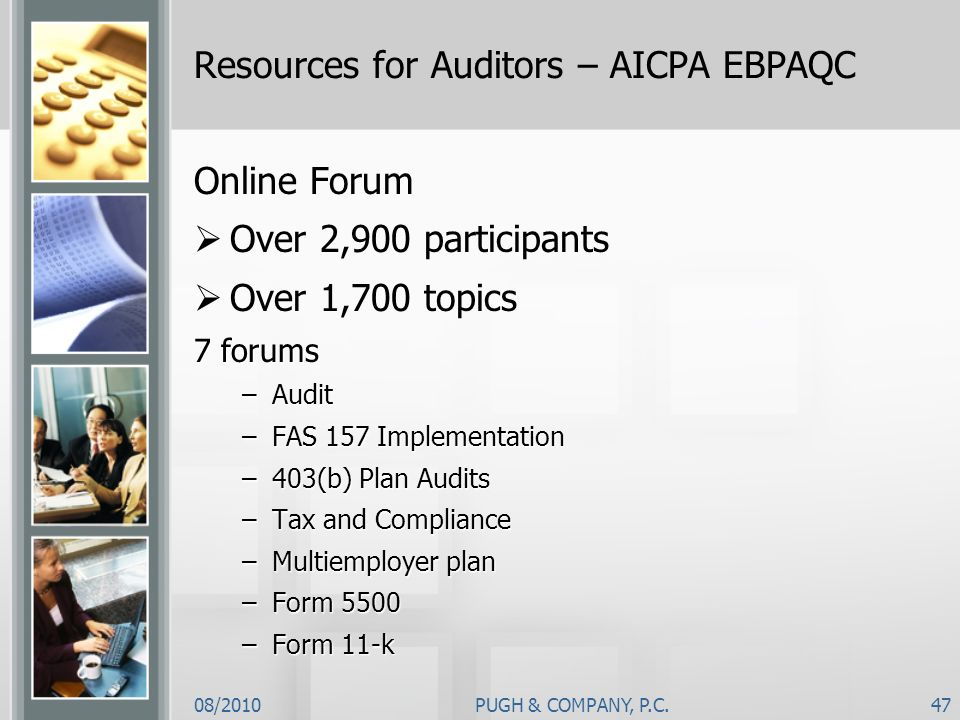 Resources for Auditors – AICPA EBPAQC