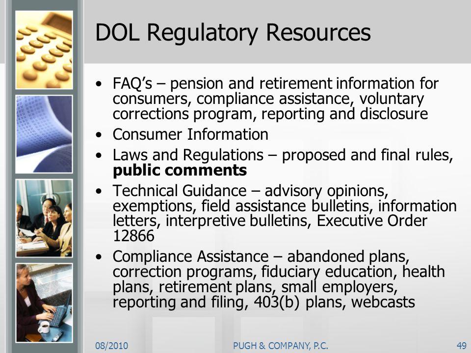 DOL Regulatory Resources