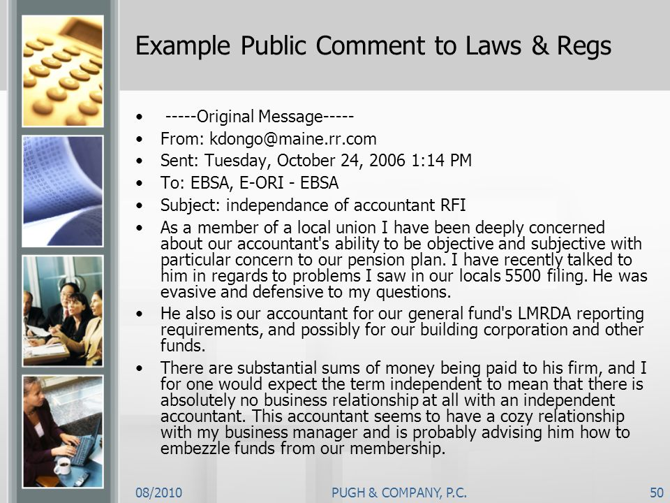 Example Public Comment to Laws & Regs
