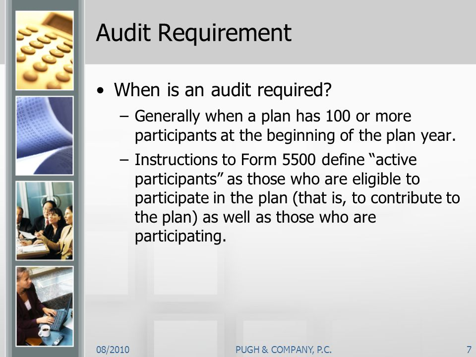Audit Requirement When is an audit required