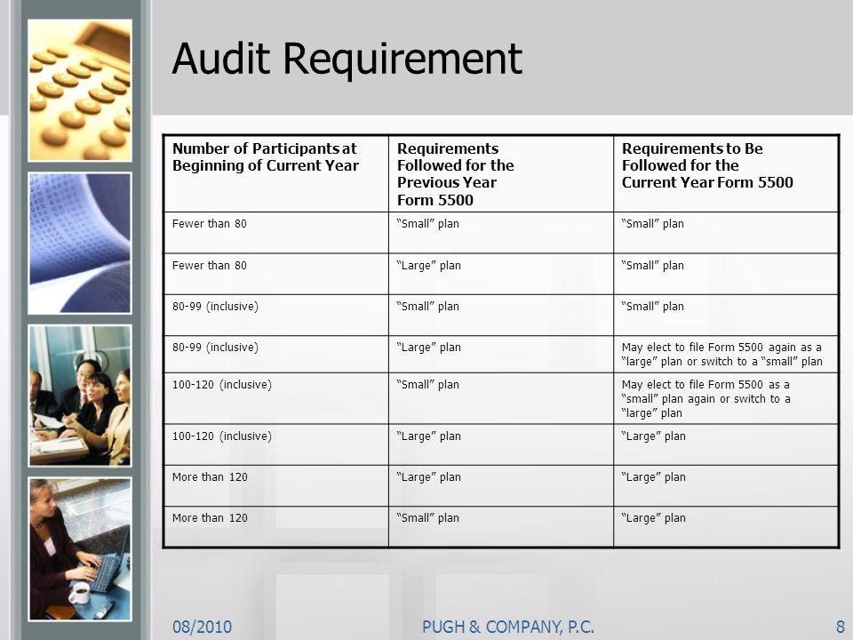 Audit Requirement 08/2010 PUGH & COMPANY, P.C.