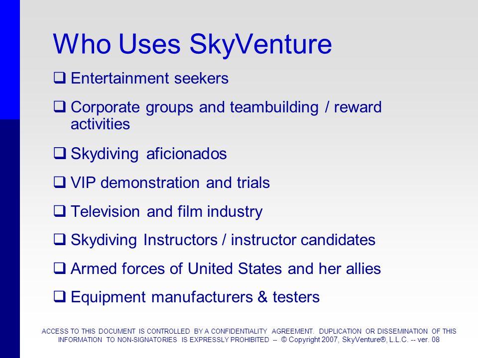 Who Uses SkyVenture Skydiving aficionados Entertainment seekers