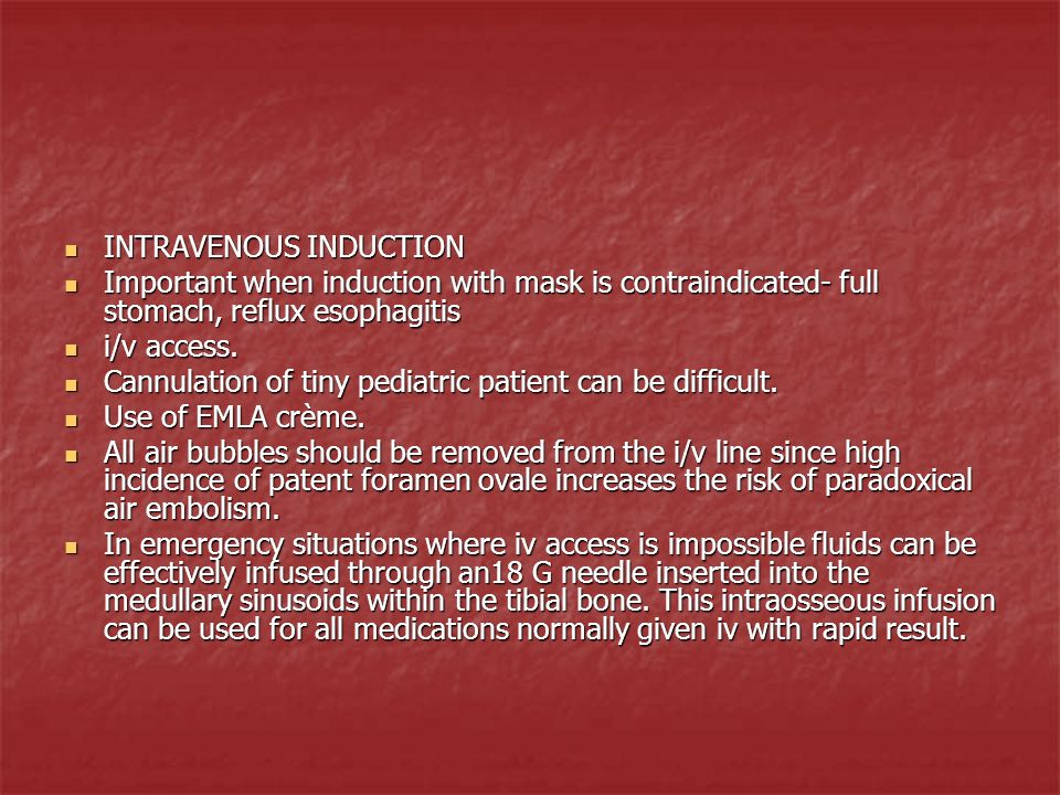INTRAVENOUS INDUCTION
