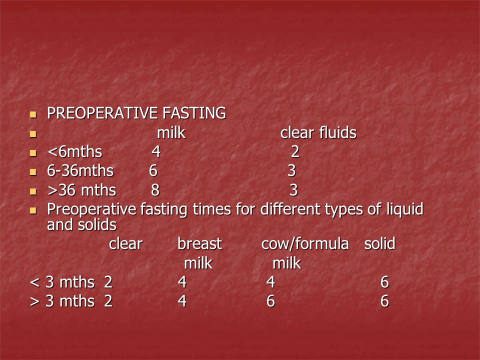PREOPERATIVE FASTING milk clear fluids. <6mths 4 2.