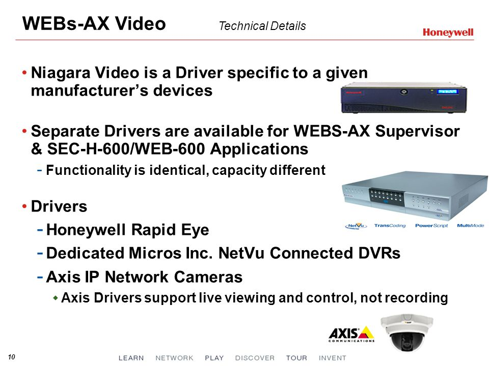 WEBs-AX Video Technical Details