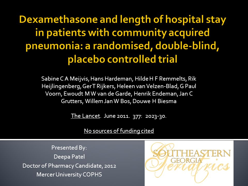 Dexamethasone and length of hospital stay in patients with community acquired pneumonia: a randomised, double-blind, placebo controlled trial