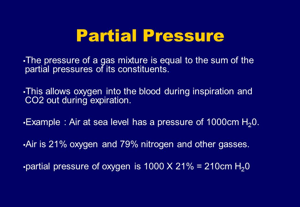 Partial Pressure The pressure of a gas mixture is equal to the sum of the partial pressures of its constituents.
