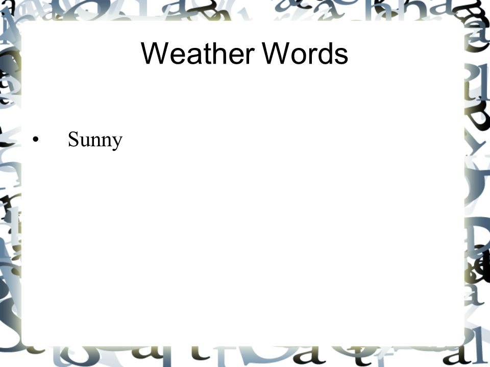 Weather Words Sunny 5 5