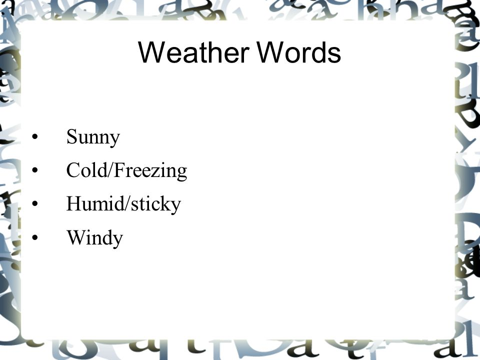 Weather Words Sunny Cold/Freezing Humid/sticky Windy 8 8
