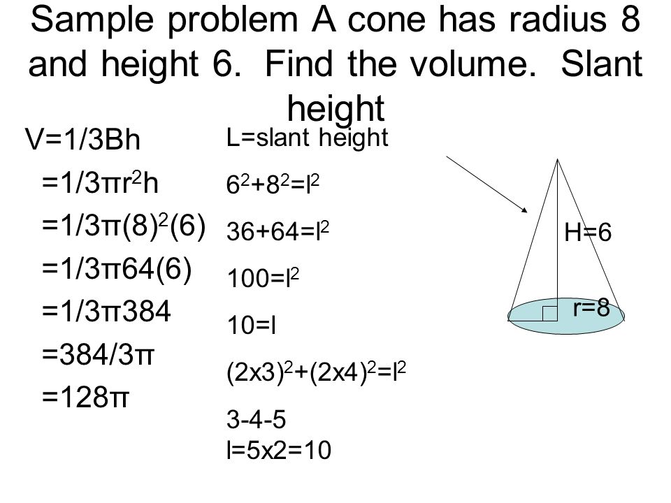 Sample problem A cone has radius 8 and height 6. Find the volume