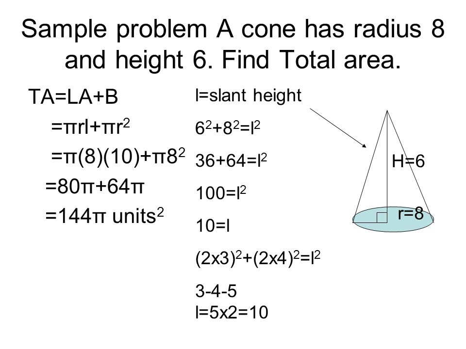 Sample problem A cone has radius 8 and height 6. Find Total area.