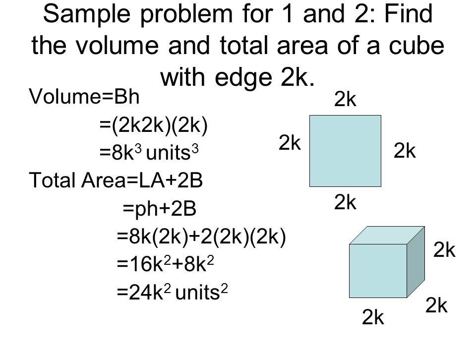 Sample problem for 1 and 2: Find the volume and total area of a cube with edge 2k.