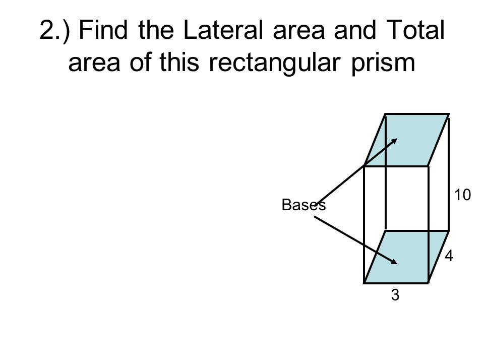 2.) Find the Lateral area and Total area of this rectangular prism