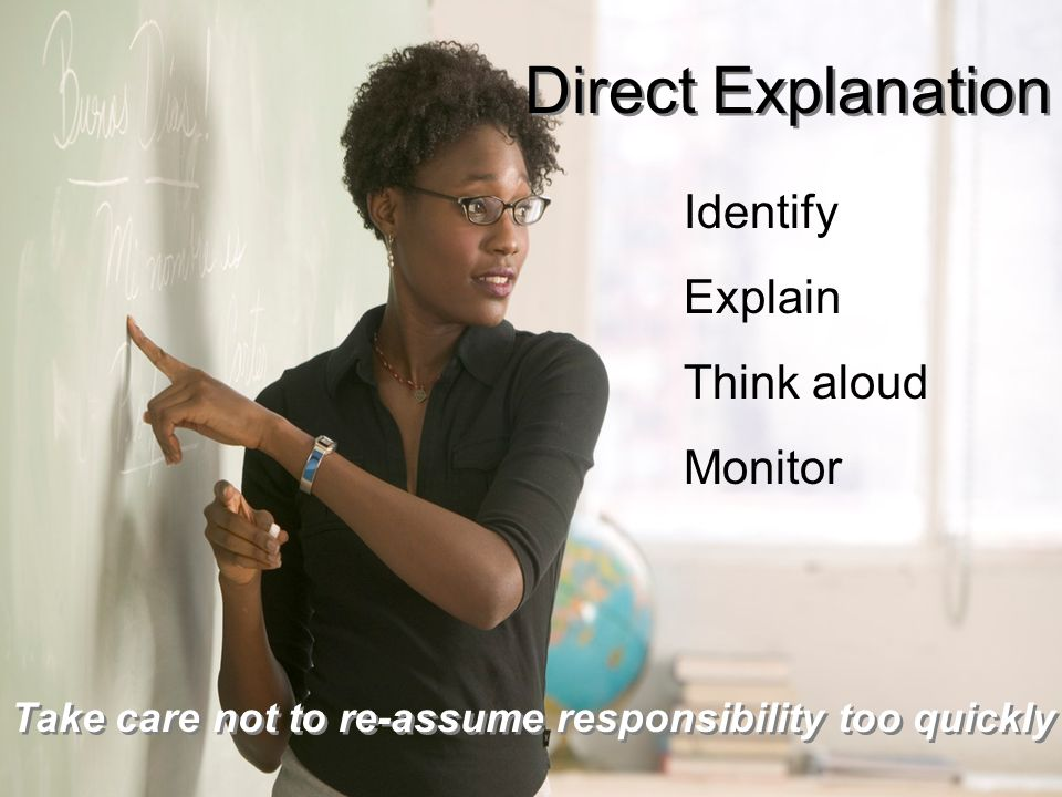 Direct Explanation Identify Explain Think aloud Monitor
