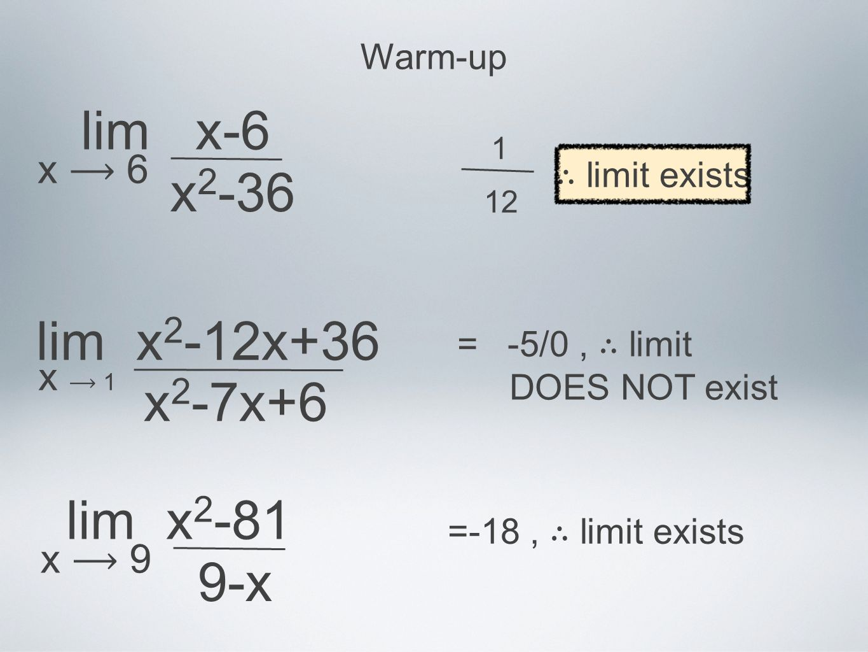 lim x-6 x2-36 lim x2-12x+36 x2-7x+6 lim x2-81 9-x x ⟶ 6 x ⟶ 9 x ⟶ 1