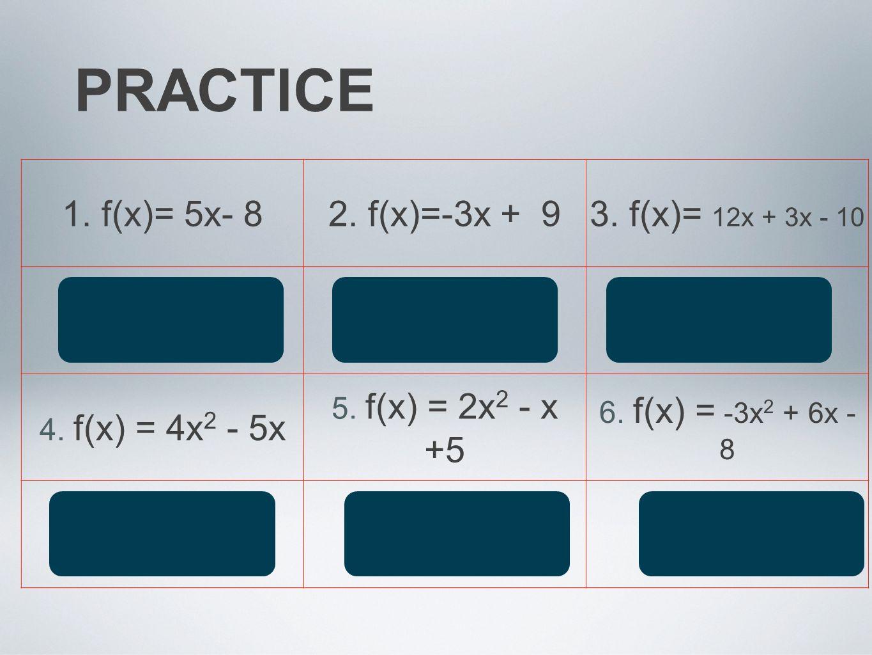 PRACTICE 1. f(x)= 5x- 8 2. f(x)=-3x + 9 3. f(x)= 12x + 3x - 10 5 -3 15
