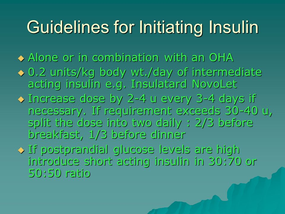 Guidelines for Initiating Insulin